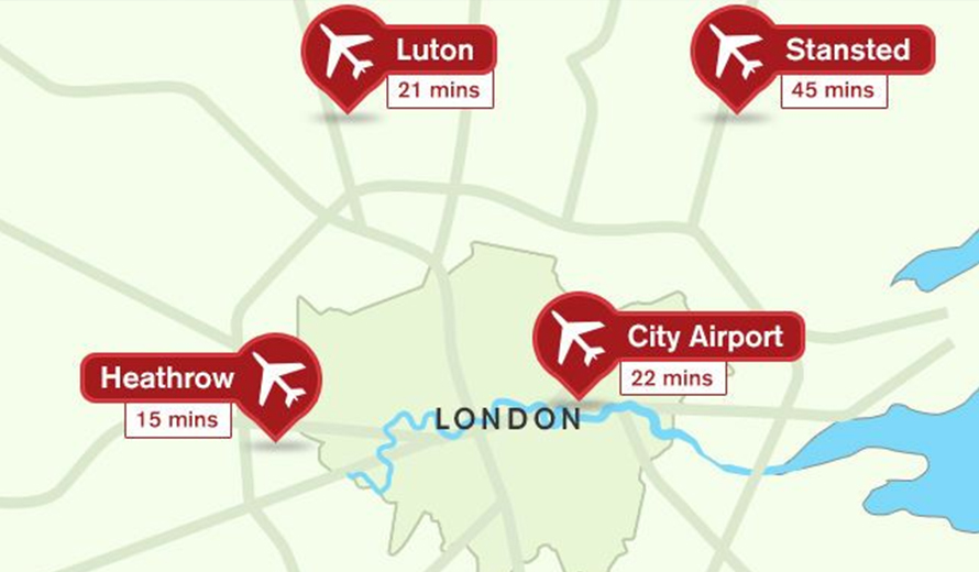 Distance from London to Luton Airport