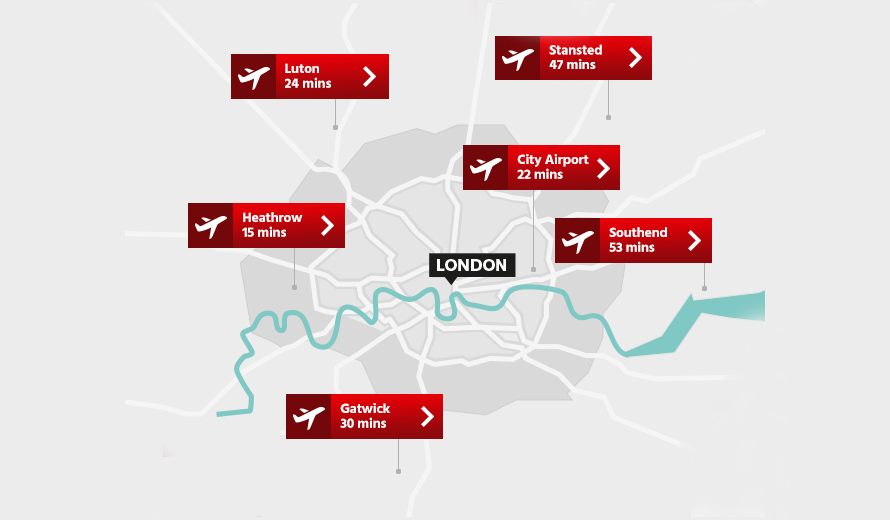 Nearest Airports to Central London